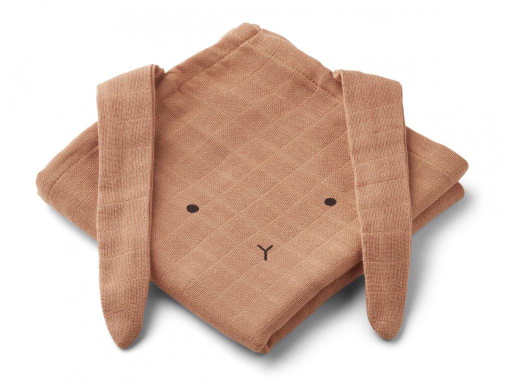 HANNAH MUSLIN CLOTH RABBIT 2 PACK RABBIT TUSCANY ROSE