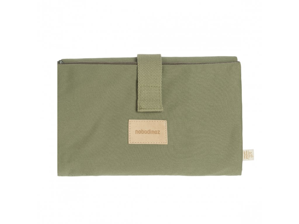 Baby on the go waterproof changing pad olive green nobodinoz 1 8435574920263