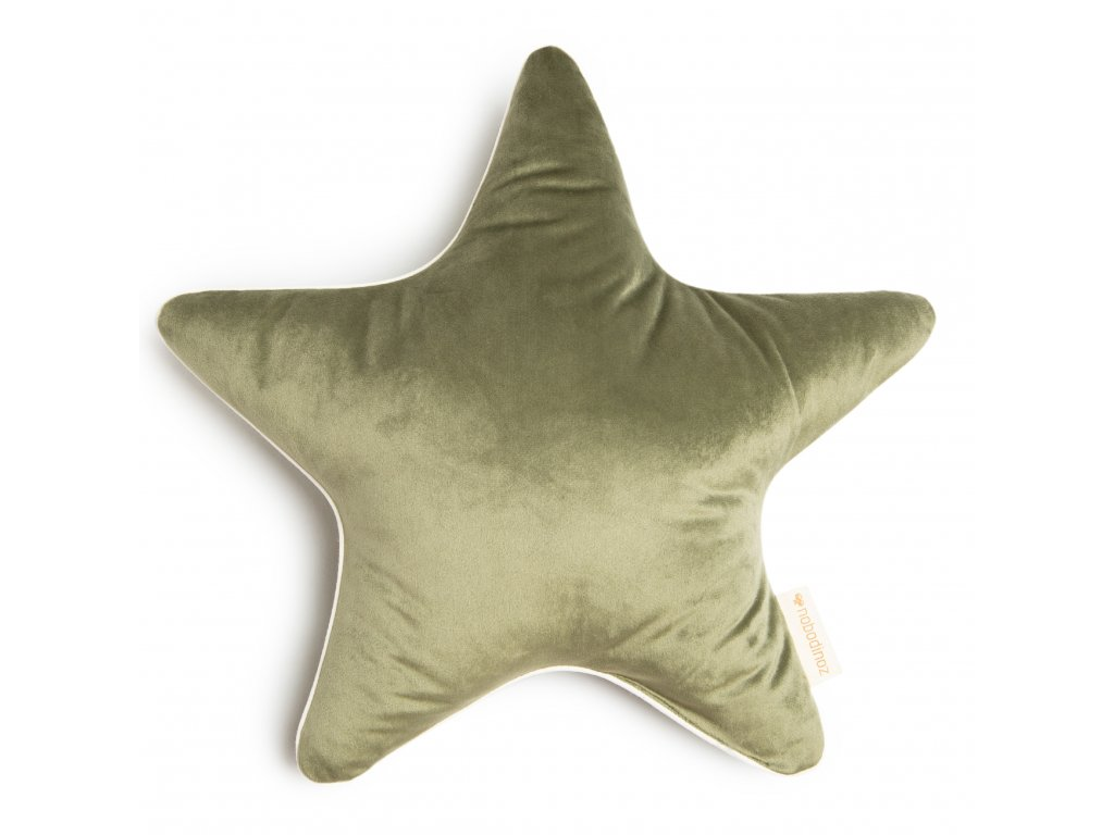 Aristote star velvet cushion olive green nobodinoz 1 8435574920584