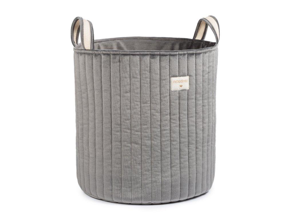 Savanna velvet toy bag slate grey nobodinoz 1 8435574920713