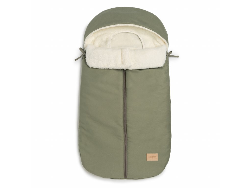 Baby on the go waterproof footmuff olive green nobodinoz 1 8435574920485