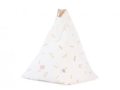 Keops beanbag pouf puf gold secrets white nobodinoz 1