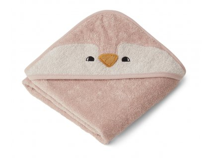 ALBERT HOODED BABY TOWEL PENGUIN ROSE 3.20