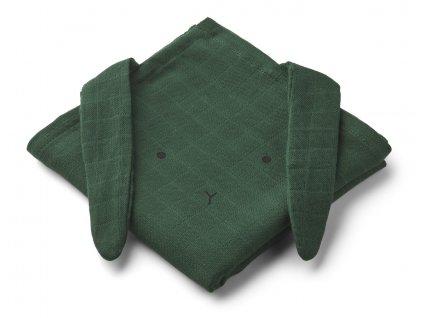 HANNAH MUSLIN CLOTH RABBIT 2 PACK RABBIT GARDEN GREEN