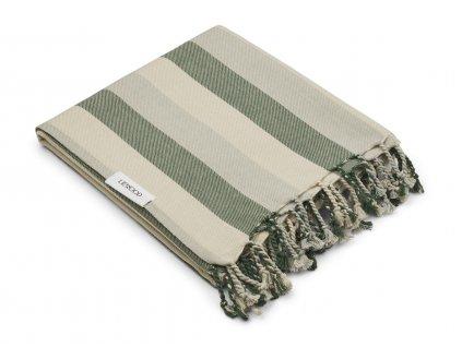 MONA BEACH TOWEL YD STRIPE GARDEN GREEN DOVE BLUE SANDY 1.21