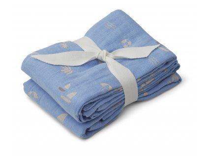 Lewis muslin cloth 2 pack LW13015 9672 Seaside sky blue 2 21 Front