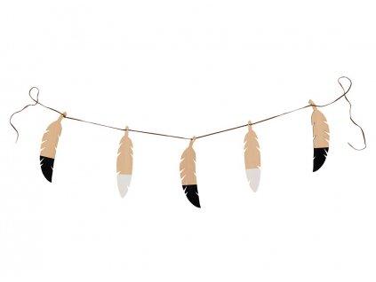 feathers garland black and white nobodinoz 1