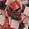 Mozaikové plastové kamínky mramorové 10 x 10 mm  -  červená