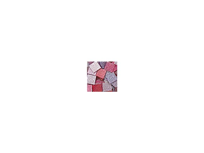 Mozaikové plastové kamínky s glitrem 5 x 5 mm  -  růžovo červená