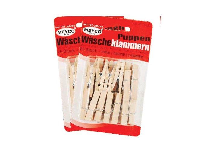 Dekorační dřevěné MINI kolíčky 3,5cm - sada 25ks