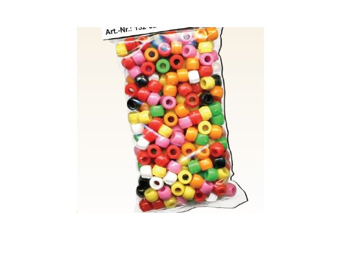 Plastové korálky PONY 6x9mm, 220ks - barevný mix