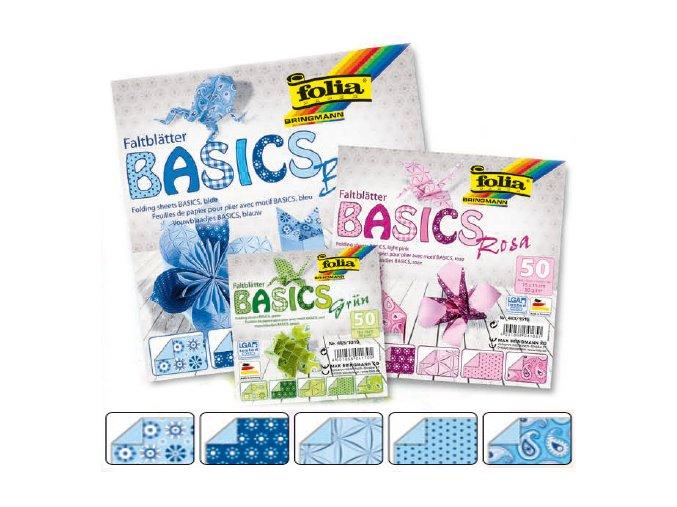 Origami papír BASICS 80g - 15x15cm - BLAU