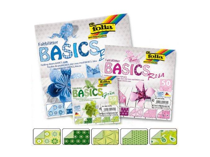Origami papír BASICS 80g - 20x20cm - GRUN