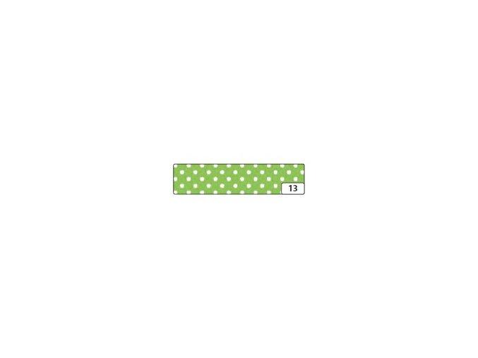 Washi lepící páska 10m x 15mm - zelená puntík