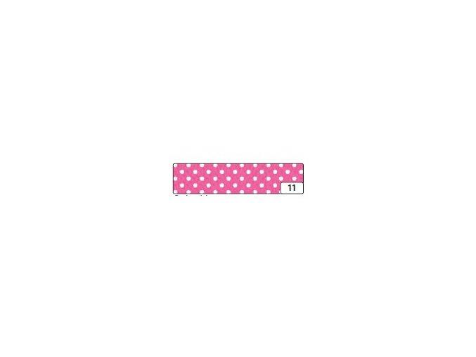 Washi lepící páska 10m x 15mm - růžová puntík