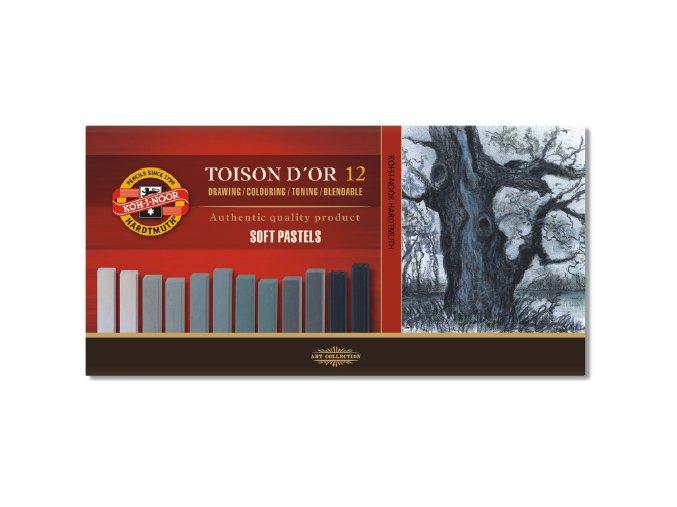 Sada 12 suchých pastelů Koh-i-noor SOFT - šedé odstíny 8592G