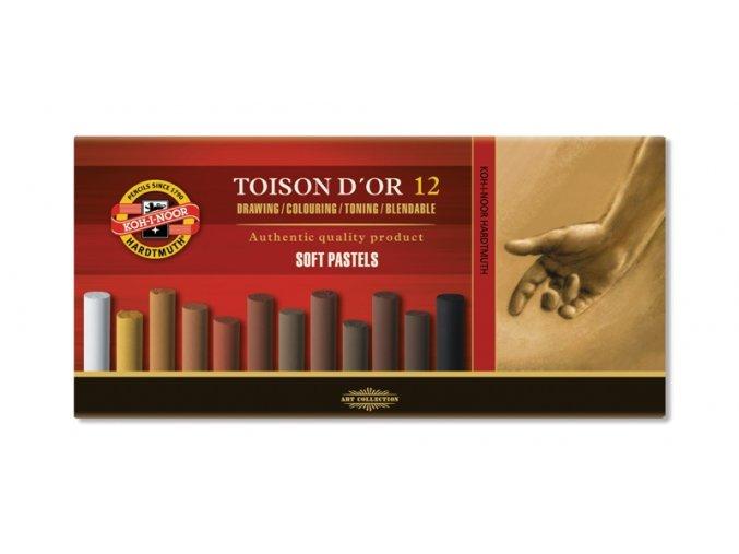 Sada 12 suchých pastelů Koh-i-noor SOFT - hnědé odstíny 8522B