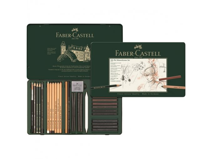Sada 33 ks PITT monochrome SET Faber-Castell - 112977