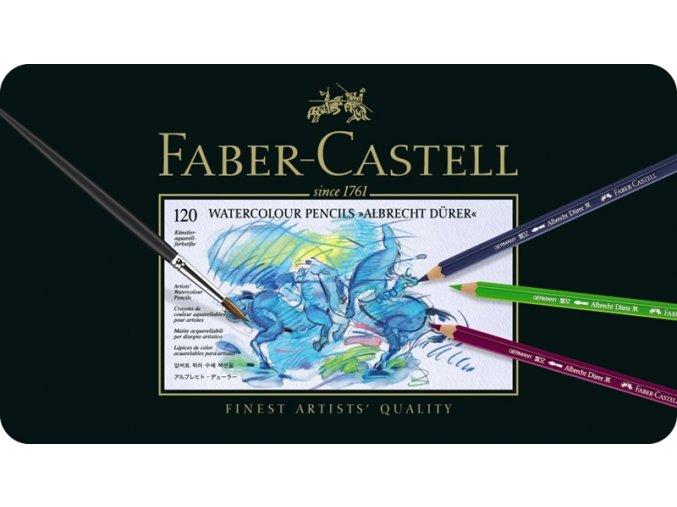 Sada 120 uměleckých akvarelových pastelek Albrecht Dürer Faber-Castell v plechové krabičce