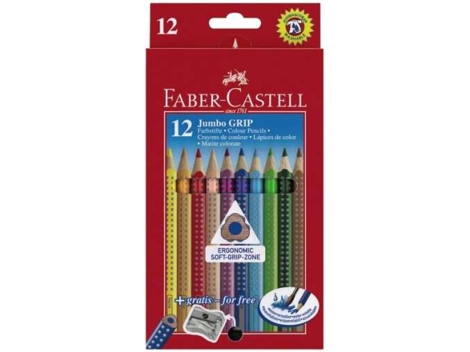Sada 12 školních pastelek JUMBO GRIP - Faber-Castell