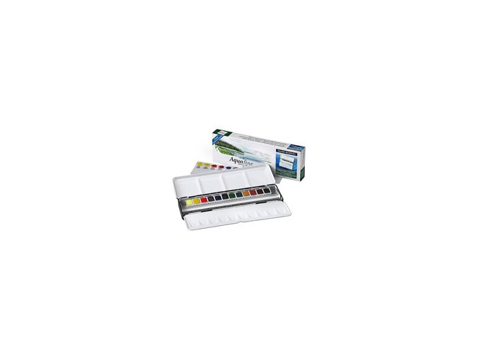 Akvarelové barvy Daler-Rowney Aquafine sada plech - 12 barev