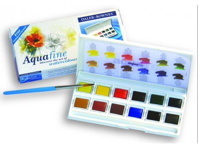 Akvarelové barvy Daler-Rowney Aquafine sada plast - 12 barev