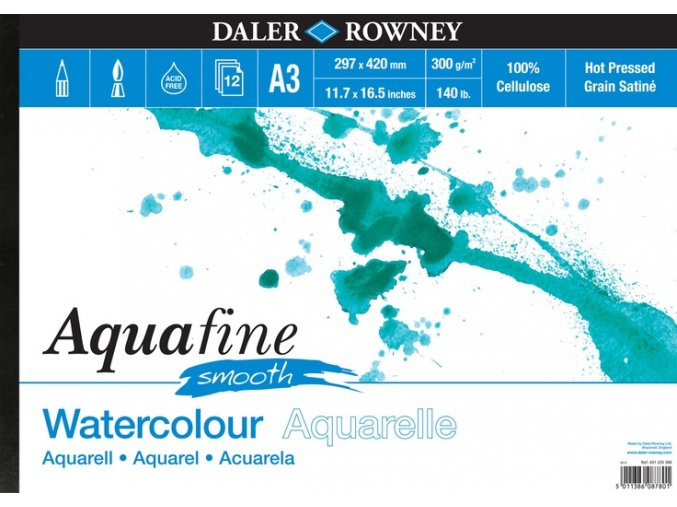 Blok akvarelový 300g Aquafine smooth Daler-Rowney - 12 listů A3