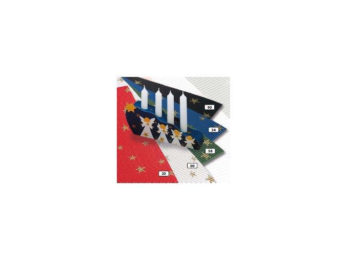 Vlnitý karton 250g - červená s hvězdičkami