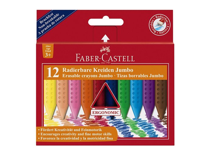 Sada 12 školních plastických pastelek trojhranných Faber-Castell GRIP