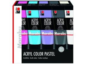 Sada akrylové barvy Marabu 5x100ml pastel