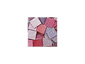 Mozaikové plastové kamínky s glitrem 10 x 10 mm  -  růžovo červená
