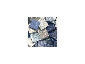 Mozaikové plastové kamínky s glitrem 10 x 10 mm  -  modrá