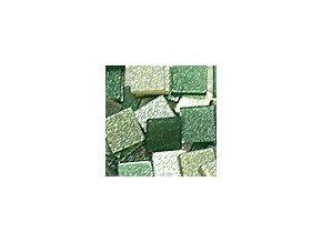 Mozaikové plastové kamínky s glitrem 10 x 10 mm  -  zelená