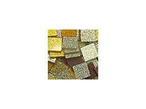 Mozaikové plastové kamínky s glitrem 10 x 10 mm  -  zlato hnědá