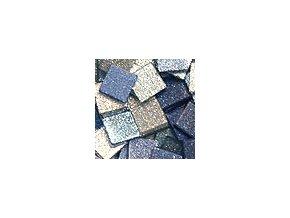 Mozaikové plastové kamínky s glitrem 5 x 5 mm  -  modrá