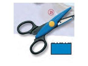 Dekorační nůžky modré světlé - Vlnky,zoubky