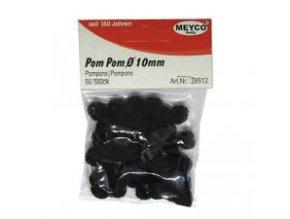 Pompons - 10mm - černá