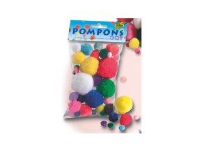 Pompons sada 30 ks 1-5cm barevný mix