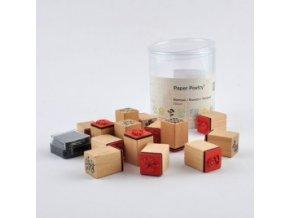 Dřevěná razítka sada 15 ks + razítkovací polštářek 7038.34.00