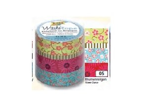 Washi páska květiny - sada 4 ks