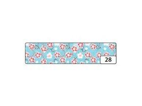 Washi lepící páska 10m x 15mm - květinová modrá