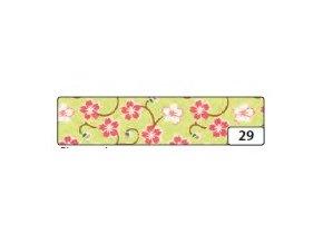 Washi lepící páska 10m x 15mm - květinová zelený