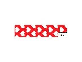 Washi lepící páska 10m x 15mm - červená srdce