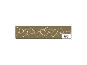 Washi lepící páska 10m x 15mm - zaltá srdce