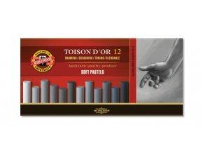 Sada 12 suchých pastelů Koh-i-noor SOFT - šedé odstíny 8522G