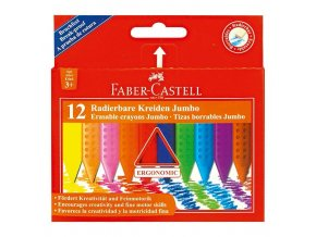 Sada 12 školních plastických pastelek trojhranných Faber-Castell GRIP JUMBO