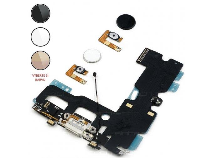 """iPhone 7 (4,7"""") Home button s opětovnou funkcí + nabíjecí konektor"""