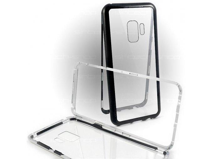 Magnetický hliníkový kryt s tvrzeným sklem pro Samsung Galaxy S9