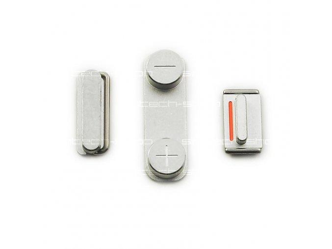 iPhone 5 set tlačítek (volume, mute, power), stříbrný