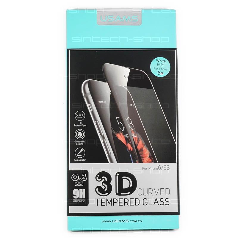 USAMS Tvrzené Sklo 3D White pro iPhone 6/6S